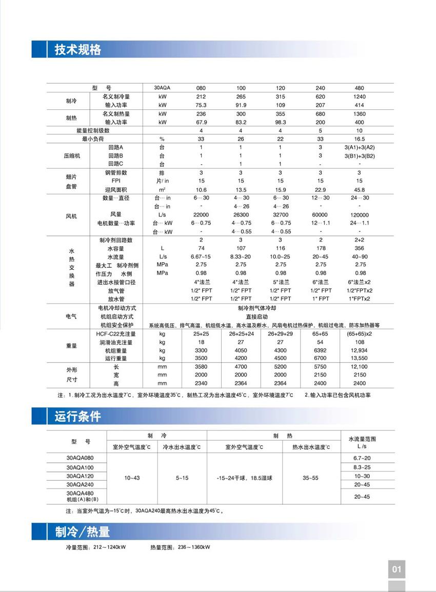 开利30AQA 活塞式空气机组技术规格